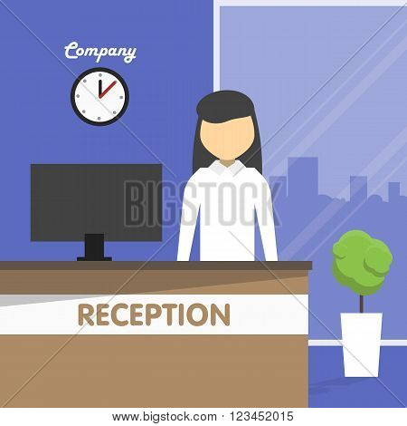 Secretary stands behind a reception in front of the computer in the office. Behind the large window and city silhouette. On the wall hang the clock. Vector illustration in a flat style.