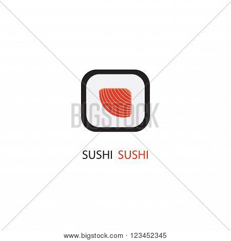 Sushi rolls isolated on white background. Sushi with salmon. The logo or emblem of the restaurant cafe? bar sushi bar.
