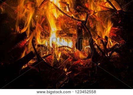 Burning Fire. Raging bonfire with sparks at night close-up view. Halloween type background