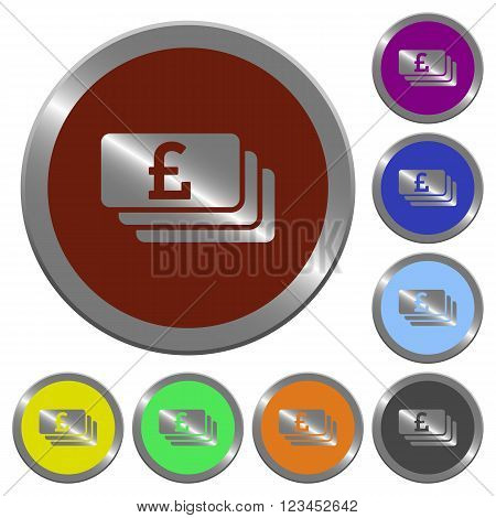 Set of color glossy coin-like pound banknotes buttons.