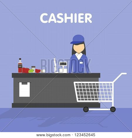 Cashier in their workplace in a supermarket behind the counter. On the counter there are goods. Before the table is empty trolley. Vector illustration in a flat style.
