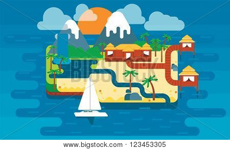 Paradise island, colorful cute vector illustration. Island with palm trees and houses. Vector illustration in flat style.