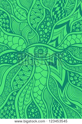 Zen-doodle or Zen-tangle texture or pattern with eye  in  malachite green for  wallpaper or for decorate package clothes or different things