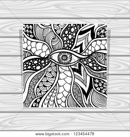 Zen-doodle or Zen-tangle texture or pattern with eye  black on white for coloring page or relax coloring book or wallpaper or for decorate package clothes or different things