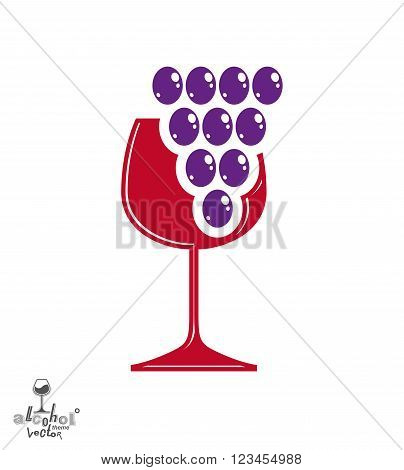 Winery award theme vector illustration. Stylized half full glass of wine with grape vine and decorative ribbon racemation symbol best for use in advertising and graphic design.