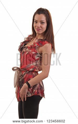 Fashion Photo Of Young Beautiful Young Woman Against White Background, Studio Photo