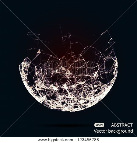 Abstract vector mesh half spheres. Futuristic technology low poly style. Elegant dots background for business presentations. Flying debris lines. Illustration eps10