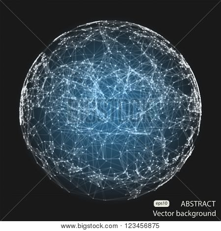 Abstract vector mesh blue spheres. Futuristic technology low poly style. Elegant dots background for business presentations. Flying debris blue lines. Illustration eps10