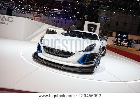 GENEVA, SWITZERLAND - MARCH 1: Geneva Motor Show on March 1, 2016 in Geneva, Rimac Concept S, front-side view