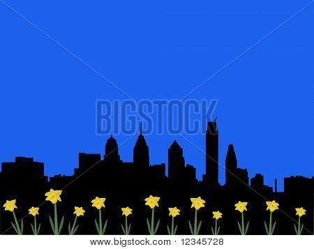 Philadelphia skyline in spring with daffodils illustration
