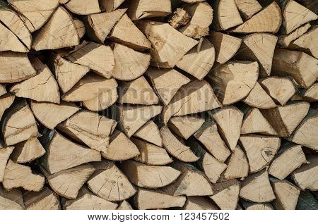 Pile Of Chopped Firewood Abstract Pattern, Background Texture