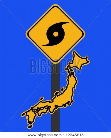 Japan warning sign with typhoon symbol on blue illustration
