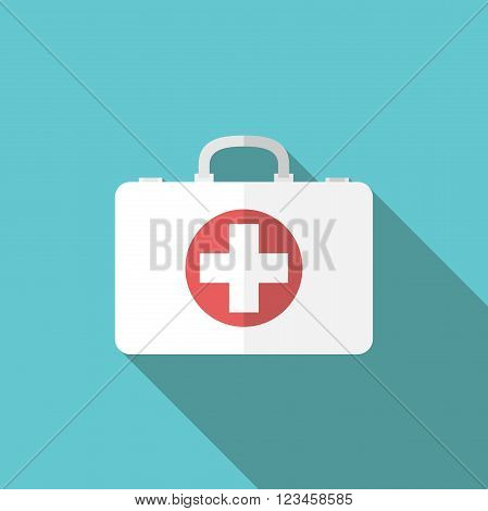 White first aid kit icon on turquoise blue background with long shadow. EPS 8 vector illustration no transparency