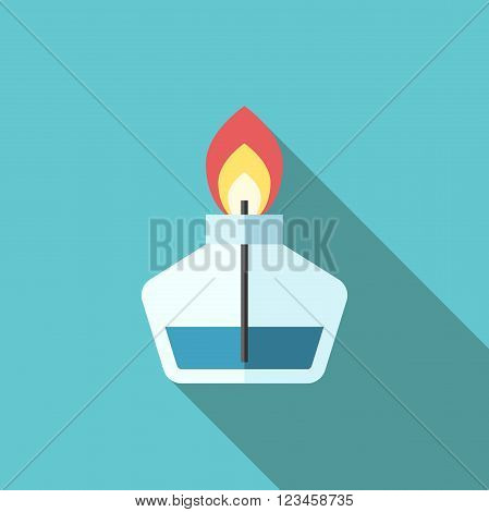 Beautiful laboratory burner with flame and wick on blue background with long shadow. Flat style icon. Science chemistry lab concept. EPS 8 vector illustration no transparency