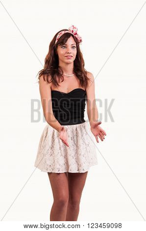young woman catch - Isolated on white background