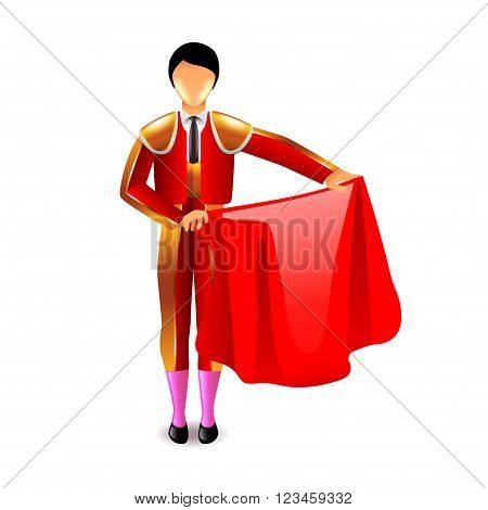 Bullfighter isolated on white photo-realistic vector illustration