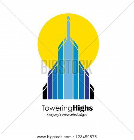 Vector Logo Icon Of High-rise Commercial Building And Sun