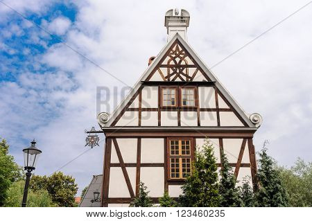 Closer look at the gable of the Miller's Guild House in Gdansk