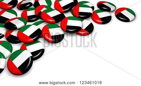 United Arab Emirates flag on badges and white background image for UAE national day events holiday memorial and celebration with copyspace 3D illustration.