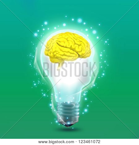 The concept of the idea in the form of man's head in light bulb with brain