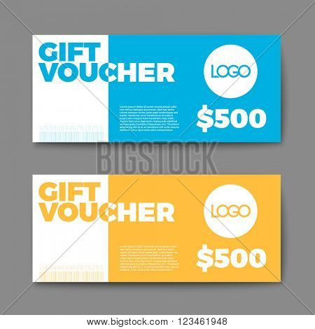 Set of gift (discount) voucher cards - blue and yellow minimalistic version