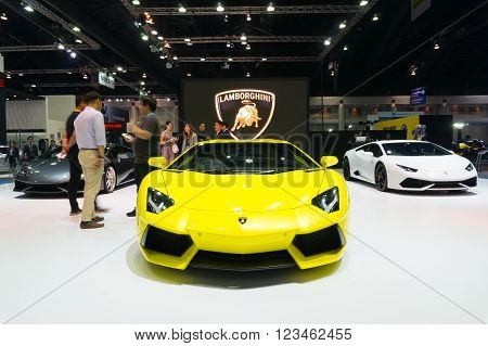 NONTHABURI - MARCH 23: Lamborghini Aventador on display at The 37th Bangkok International Motor show on MARCH 23, 2016 in Nonthaburi, Thailand.