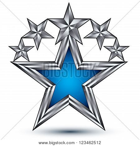 Royal Blue Star With Silver Outline, Geometric Five Stylized Silver Stars, Best For Use In Web And G