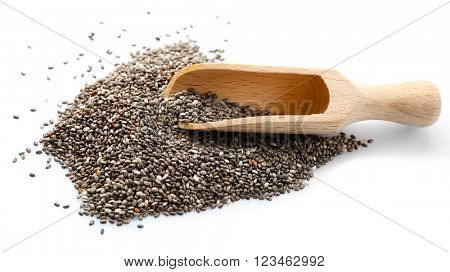 Chia seeds in a wooden spoon isolated on white background