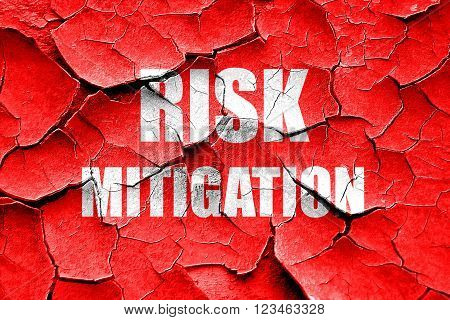 Grunge cracked Risk mitigation sign with some smooth lines and highlights