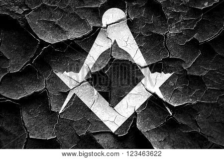 Grunge cracked Masonic freemasonry symbol with some soft smooth lines