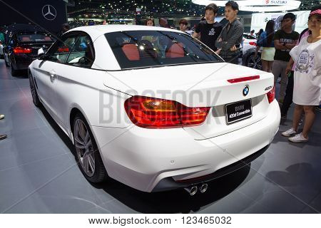 NONTHABURI - MARCH 23: NEW BMW 420d Convertible on display at The 37th Bangkok International Motor show on MARCH 23, 2016 in Nonthaburi, Thailand.