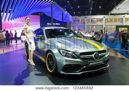 NONTHABURI - MARCH 23: NEW Mercedes Benz c63 s AMG on display at The 37th Bangkok International Motor show on MARCH 23, 2016 in Nonthaburi, Thailand.