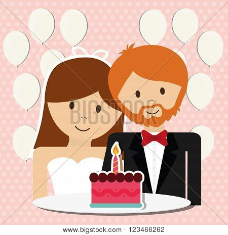 wedding couple concept with icon design, vector illustration 10 eps graphic.