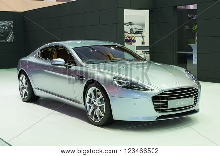 NONTHABURI - MARCH 23: NEW Aston Martin Rapide S on display at The 37th Bangkok International Motor show on MARCH 23, 2016 in Nonthaburi, Thailand.