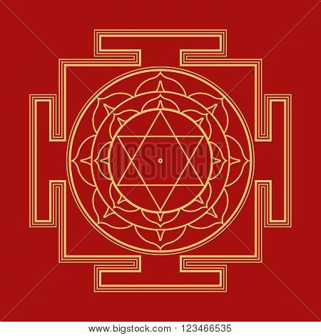 Monocrome Outline Bhuvaneshwari Yantra Illustration.