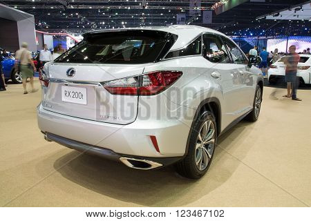 NONTHABURI - MARCH 23: NEW Lexus RX 200t on display at The 37th Bangkok International Motor show on MARCH 23, 2016 in Nonthaburi, Thailand.
