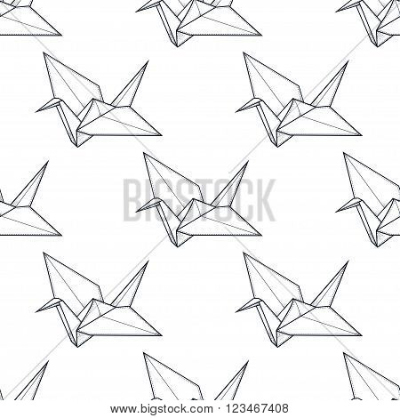 Origami crane vector seamless pattern. Endless texture can be used for wallpaper, pattern fills, web page background, surface textures. Vector monochrome geometric ornate oriental birds .