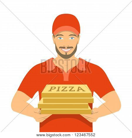 Pizza delivery boy holding cardboard boxes. Vector flat illustration. Handsome friendly young man in a red T-shirt and uniform cap. Express delivery concept isolated on white