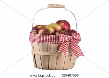 Imperfect apples basket isolated on white background
