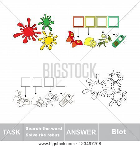 Vector rebus game. Task and answer. Solve the rebus and find the word Blot