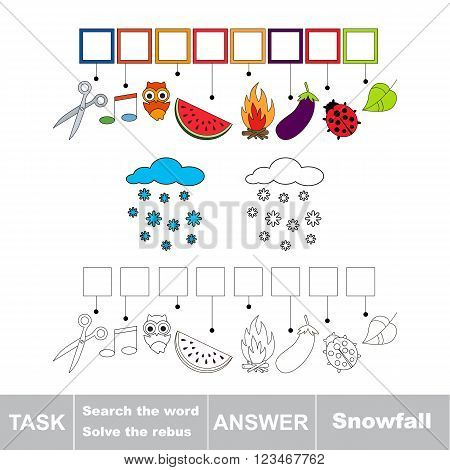 Vector rebus game. Task and answer. Solve the rebus and find the word Snowfall