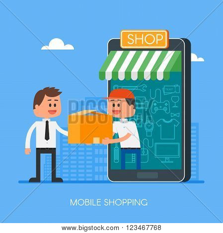 Online shopping on internet using mobile smartphone. Fast delivery concept vector illustration in flat style design. Courier stays in shop door that looks like phone and gives parcel to customer.