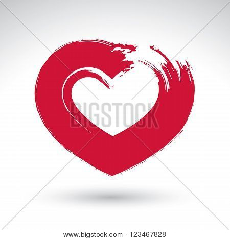 Hand drawn red love heart icon loving heart sign created with real hand drawn ink brush scanned and vectorized hand-painted love symbol isolated on white background.
