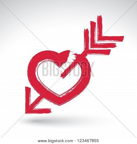 Hand drawn red love heart icon brush drawing loving heart sign with Cupids arrow original hand-painted love symbol isolated on white background.