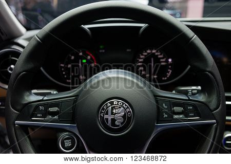 GENEVA, SWITZERLAND - MARCH 1: Geneva Motor Show on March 1, 2016 in Geneva, Alfa Romeo Giulia, interior view