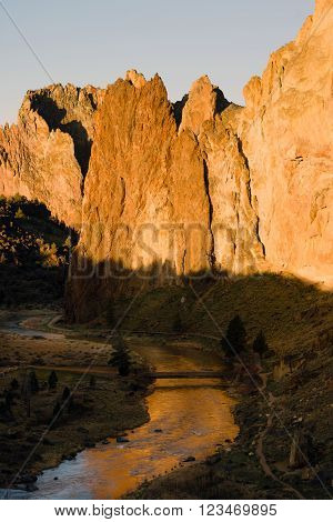 Sun Rises on Smith Rock Oregon Crooked River Reflection
