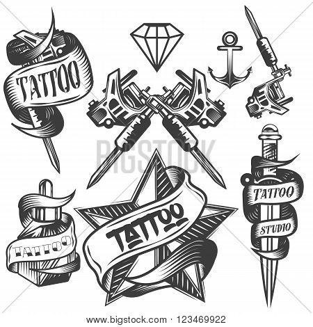 Vector set of tattoo vector labels in vintage style. Tattoo salon logos and tattoo machine isolated on white background. Design elements, icons, badges and stamps.