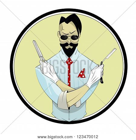 Cartoon hipster hairstylist with scissors and razor. Vector illustration. Character illustration
