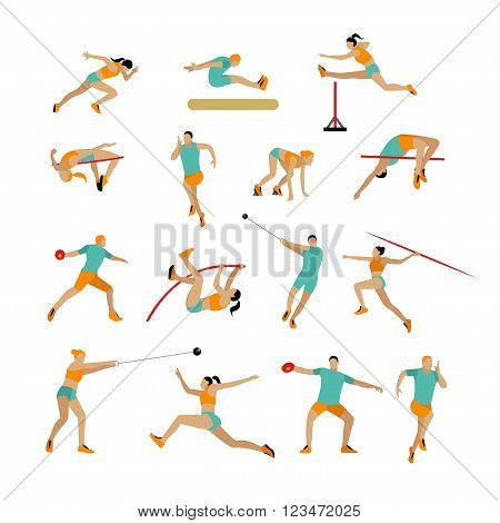 Vector set of people in sport athletic poses. Track and field athletic contest concept. Sportsman flat icons isolated on white background.