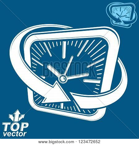 3d vector white square wall clock with arrow around. Time idea perspective classic symbol. Time management conceptual elegant icon corporate emblem.